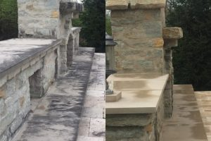 softwash exterior stone firepit-before and after