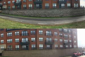 pressure wash brick facade-before and after