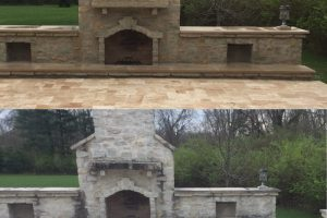 Softwashed Exterior fireplace-before and after