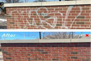 Cleaning Grafity off brick wall